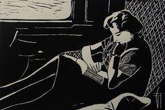 "Linogravure ""Métro"" - Géraldine THEUROT - artiste-peintre"