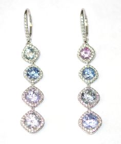 Round Multi-Colored Sapphire and Diamond Dangle Earrings. These earrings contain carats of Sapphires and Carats of Accent Diamonds Diamond Dangle Earrings, Custom Earrings, Custom Jewelry Design, Diamond Are A Girls Best Friend, Sapphire Diamond, Sterling Silver Pendants, Dangles, Diamonds, Things To Come