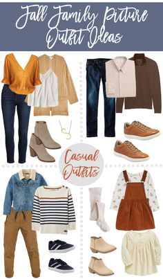 Fall Family Photos Outfit Inspiration - Casual + Dressy It's that time again to start thinking about Fall family photos! This has been a HUGE request from you all and hopefully I am sharing… Fall Family Picture Outfits, Family Portrait Outfits, Fall Family Photo Outfits, Casual Fall Outfits, Fall Family Portraits, Family Posing, Casual Family Photos, Family Photos What To Wear, Fall Family Pictures