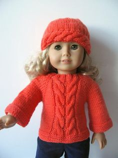 coral double cable sweater