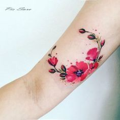 Bright Red Tattoo Poppies