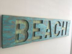 Rustic Beach House Decor BEACH cut out of Reclaimed Wood  on Etsy, $80.00