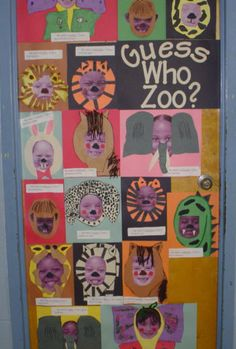 """""""Guess Who Zoo"""" Students used their digital pictures and decorated their picture as animal and typed their name scrambled with a hint of who they are."""