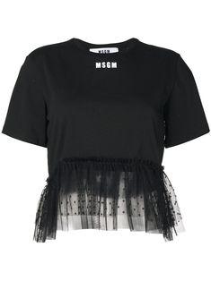 Msgm Lace Trimmed Cotton T-shirt In Black Shirt Refashion, Diy Shirt, Chic Outfits, Fashion Outfits, Virtual Fashion, Msgm, Clothing Items, Shirt Designs, My Style