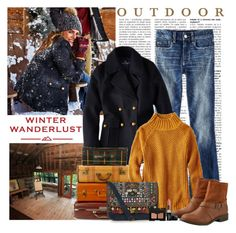 """Winter Wanderlust with American Eagle: Contest Entry"" by polybaby ❤ liked on Polyvore featuring American Eagle Outfitters, Accessorize, Butter London, SOREL, NARS Cosmetics and aeostyle"