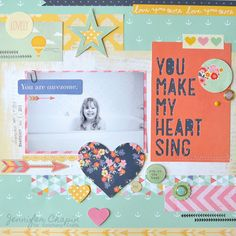 Layout made with the #epiphanycrafts Shape Studio Tool Round 25 available at #MichaelsStores www.epiphanycrafts.com #scrapbook #layout #amercancrafts #dearlizzy