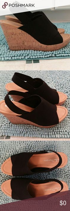 1990's Style Stretch Black Wedges EUC. Slight wear on soles. Cork sole. Worn 1/2 dozen times. Chinese Laundry Shoes Wedges
