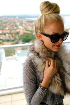 The BEST look ever. Sunglasses Fur Collar Fun Bun Red Lipstick Charcoal