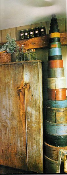 .I don't think I've ever seen a taller stack of pantry boxes....great original paint too.