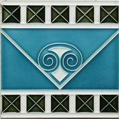 An Art Nouveau tube line tile in cream, olive and steel blue with central spiral and V-form design between crossed...