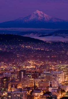 Portland at night - we had a sunset like this just a few nights ago. Everyone was outside taking photos - AND we had a rainbow.