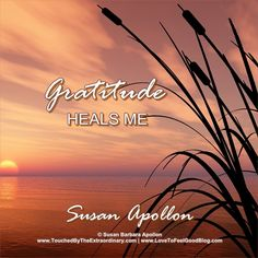 """""""I Am grateful for all of my blessings—gratitude heals me."""" —Susan Barbara Apollon, Psychologist and Author of AFFIRMATIONS FOR HEALING MIND, BODY & SPIRIT: www.amazon.com/dp/1938984072"""