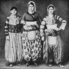 Scutari ladies,Turkey...where Moslem and Christian Albanians mingle, all townswomen used to wear only embroidered silk or charmeuse, brocade, damask, tussah silk, sateen (not satin), cotton, linen, cashmere, ikat and many more...