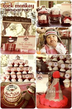 http://pizzazzerie.com/parties/childrens-parties/vintage-sock-monkey-birthday-party/