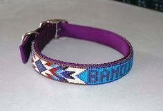 These are a few different collars. You can choose any collar color, any size, any name, and the bead color if you want. these come in collars and Beaded Dog Collar, Diy Dog Collar, Leather Dog Collars, Beaded Earrings, Beaded Jewelry, Beaded Bracelets, Beaded Boxes, Dog Jewelry, Bead Loom Patterns