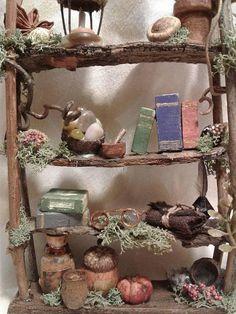 NEW Fairy House Bookshelf. Miniature OOAK. Custom Made to