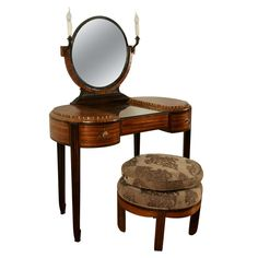 Art Deco Dressing Table with Stool by Krieger, circa 1925 | 1stdibs.com