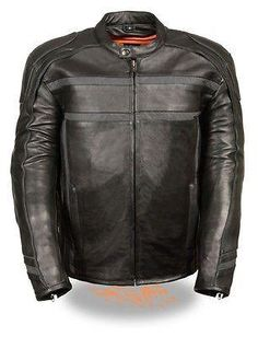MEN'S REFLECTIVE MOTORCYCLE SCOOTER LEATHER JACKET 2 GUN POCKETS NAKED SKIN