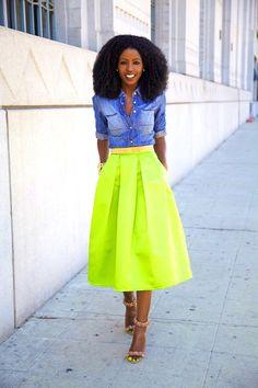 Denim Shirt + Neon Box Pleat Midi Skirt