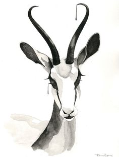 Gazelle Watercolor Contemporary Painting Black and by SpryStudios