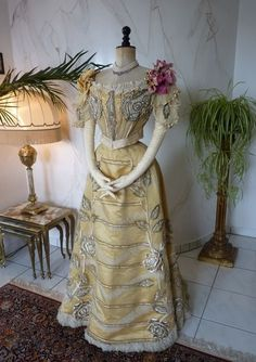 1889 DUVAL & EAGAN Evening Dress, antique dress, robe ancienne, antique gown  | eBay