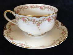 Haviland Limoges France Porcelain Tea Cup And by Sweetdelfinia, $45.00