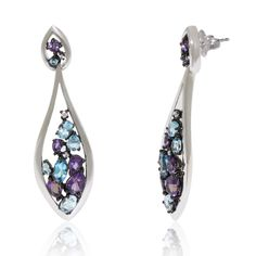 Dangling White Gold Earrings with Blue Topaz and Amethyst