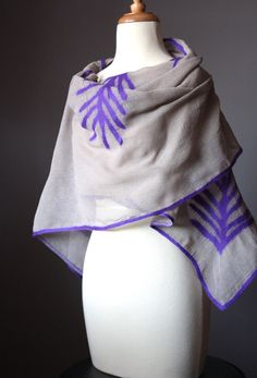 Nuno felted  sheer scarf shawl wrap cotton wool by VitalTemptation, $79.00
