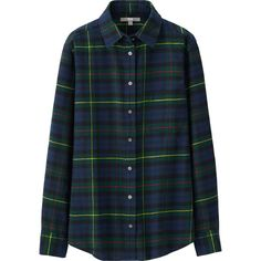 UNIQLO Women Flannel Check Long Sleeve Shirt (96 PEN) ❤ liked on Polyvore featuring tops, shirts, flannels, blouses, green, plaid button up shirts, green flannel shirt, flannel shirts, blue button down shirt and plaid shirt