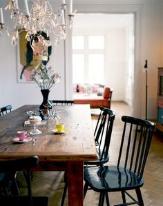 chandelier and farm house table - it's a must!