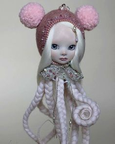 """LOVE!! Winter Baby OstoMouse """"OYA"""" [porcelain hand doll china paint wool sterling silver pearls swarovski crystals glass beads cotton H-20 cm] by @shirrstoneshelter  via BEAUTIFUL BIZARRE MAGAZINE OFFICIAL INSTAGRAM - Celebrity  Fashion  Haute Couture  Advertising  Culture  Beauty  Editorial Photography  Magazine Covers  Supermodels  Runway Models"""