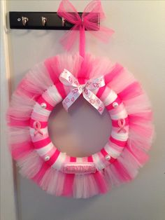"Homemade Breast Cancer Awareness Wreath - checkout ""Wreaths by Tricia"" on… Tulle Projects, Tulle Crafts, Wreath Crafts, Diy Wreath, Wreath Ideas, Breast Cancer Wreath, Breast Cancer Crafts, Tutu Wreath, Fabric Wreath"