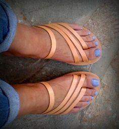 Greek Leather summer flat sandals! Genuine Greek leather strappy sandals!Womens sandals in natural biege colour!