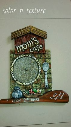 New Kitchen Wall Plates Decorating Ideas Ideas Name Plates For Home, Plates On Wall, Art N Craft, Craft Work, Pottery Painting, Ceramic Painting, Clay Crafts, Diy And Crafts, Cardboard Crafts