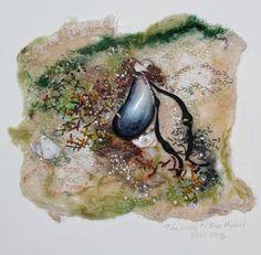Tide Lines- Blue Mussel Blue Mussel, Time And Tide, Felt Pictures, Mussels, Elements Of Art, Felt Art, Textile Art, Needle Felting, Wool Felt