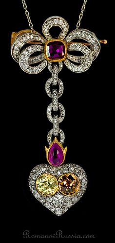 Carl Faberge antique Victorian Russian fancy colored diamond flaming heart pendant / brooch