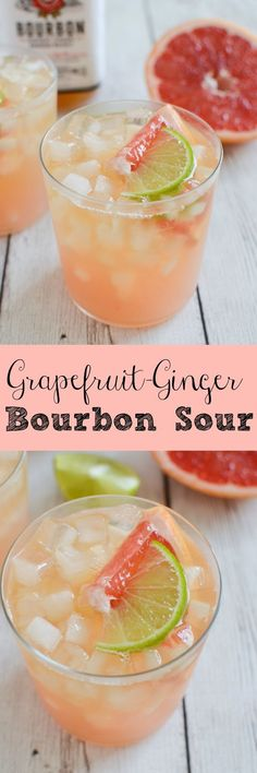 Grapefruit Ginger Bourbon Sour - the perfect grapefruit cocktail! And so easy! - Cocktail Rezepte - Grapefruit Ginger Bourbon Sour - the perfect grapefruit cock Sweet Cocktails, Fancy Drinks, Summer Cocktails, Cocktail Drinks, Cocktail Recipes, Alcoholic Drinks, Beverages, Cocktail Desserts, Craft Cocktails