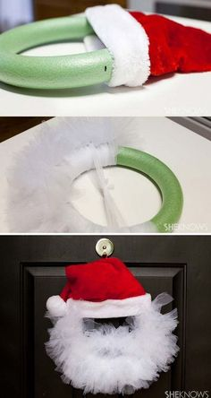 creative holiday decorations made from pool noodles. a Christmas wreath for your front door. Most of the pool noodle decorations are easy and budget-friendly, so they are Exciting Christmas Decorations Created From Pool Noodles - Amazing DIY, Grinch Christmas Decorations, Christmas Crafts For Toddlers, Christmas House Lights, Christmas Wreaths To Make, Diy Christmas Gifts, Simple Christmas, Holiday Crafts, Christmas Ornaments, Holiday Ideas