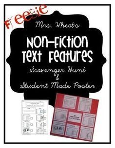Here's a scavenger hunt and poster materials on nonfiction text features for primary students .