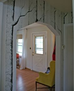 Make an awesome forest out of your hallway with magic marker! This is really cool, make me wish I had a hallway.