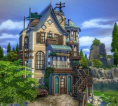 I am participating in the Tiny Living Contest and this is what i came up with! A fully functional Base Game Home without CC! 'The Weird Tinkerer's Home' will be available on my gallery tomorrow! Hope you like it! Sims 4 House Plans, Sims 4 House Building, Building Games, Vampire House, Muebles Sims 4 Cc, Sims 4 House Design, Casas The Sims 4, Sims Games, Sims 4 Build