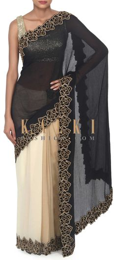 Buy this Half and half saree in beige and black with kundan embroidery only on Kalki