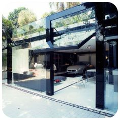 Glass house with garage