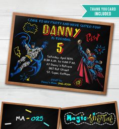 Batman vs Superman, Invitation Batman vs Superman, Thank You Card Free, Batman Party, Superman Party MA-025