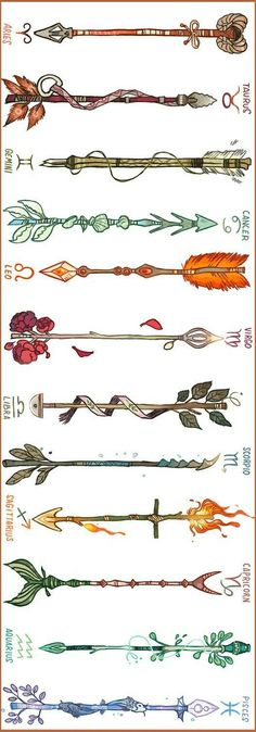 This is kind of neat. Arrows designed for signs of the zodiac. This is kind of neat. Arrows designed for signs of the zodiac. Band Tattoos, Neue Tattoos, Arrow Tattoos, Body Art Tattoos, Tribal Tattoos, Tatoos, Shell Tattoos, Arrow Tattoo Back, Behind Ear Tattoos