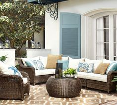 Torrey All-Weather Wicker Roll Arm Sectional Set | Pottery Barn