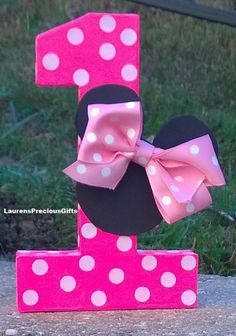 Minnie Mouse Birthday number minnie mouse centerpiece Minnie mouse hairbows…