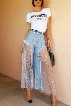 Boho Superstar Blue Denim Sheer Mesh Star Pattern Wide Leg Jeans Loose Pants – Sold Out Love the mesh skirt Denim Fashion, Look Fashion, Fashion Outfits, Womens Fashion, Fashion Design, Fashion Trends, Fashion Pants, Unique Fashion, Fashion Quiz