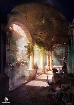 Assassin's Creed IV Black Flag Concept art by Donglu Yu Concept Art World, Fantasy Concept Art, Game Concept Art, Fantasy City, Fantasy Places, Fantasy World, Art Environnemental, Arte Steampunk, Fantasy Setting