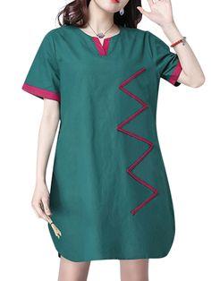 Vintage Women Short Sleeve Contrast Color Mini Dress